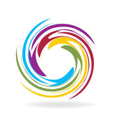 Waves with rainbow colors logo vector — Stock Vector