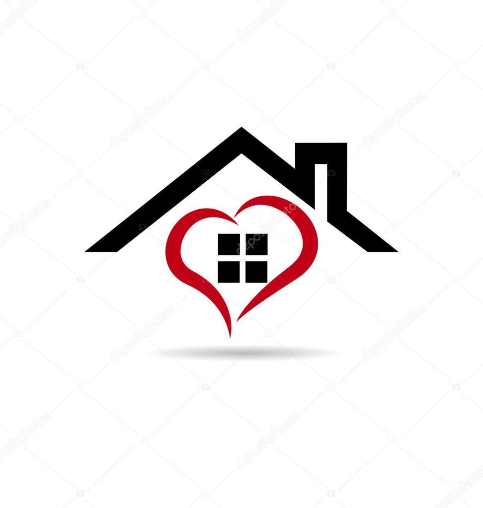 House And Heart Vector Logo Stock Glopphy 65553945