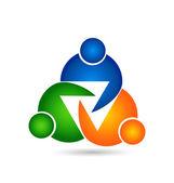 Teamwork unity three people logo — Stock Vector