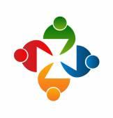 Teamwork meeting people logo vector — Stock Vector