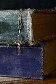 Bible and silver cross — Stock Photo