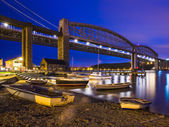 Tamar Bridges at Night Saltash Cornwall — Stock Photo