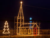 Mousehole Christmas Lights Cornwall — Stock Photo