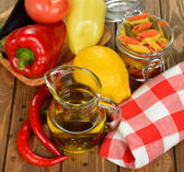 Olive oil in a glass jar — Stock Photo