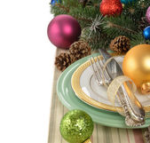 Holiday decorations and cutlery — Stock Photo