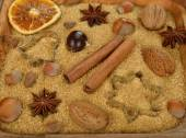 Nuts, spices and sugar — Stock Photo