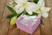White lily and a box — Foto de Stock