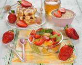 Fruit salad with strawberries — Stock Photo