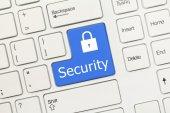 White conceptual keyboard - Security (blue key) — Stock Photo
