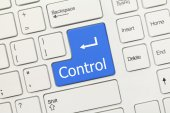 White conceptual keyboard - Control (blue key) — Stock Photo