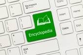 White conceptual keyboard - Encyclopedia (green key) — Stock Photo