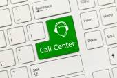 White conceptual keyboard - Call Center (green key with operator — Stock Photo