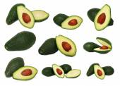 Set whole and sliced avocados (isolated) — Zdjęcie stockowe