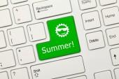White conceptual keyboard - Summer (green key) — Stock Photo
