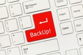 White conceptual keyboard - Backup (red key) — Stock Photo