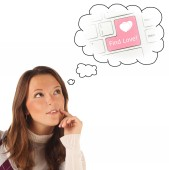 Close-up portrait of girl dreaming about Internet dating (isolat — Stockfoto
