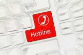 White conceptual keyboard - Hotline (red key). Zoom effect — Stock Photo