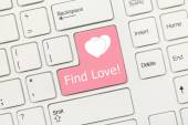 White conceptual keyboard - Find Love (pink key) — Stock Photo