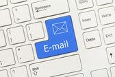 White conceptual keyboard - E-mail (blue key) — Stock fotografie