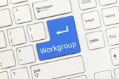 White conceptual keyboard - Workgroup (blue key) — Stock Photo