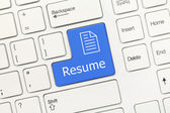 White conceptual keyboard - Resume (blue key) — Stock Photo