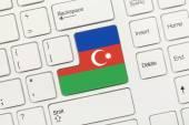 白色的概念键盘-阿塞拜疆 (带有标志的键) — 图库照片