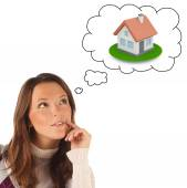 Close-up portrait of girl dreaming about own dwellings (isolated — Stock Photo