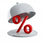 Red percent sign on silver platter (isolated) — Stock Photo