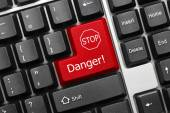 Conceptual keyboard - Danger (red key with stop sign) — Stock Photo