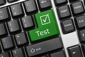 Conceptual keyboard - Test (green key) — Stock Photo