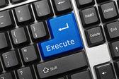 Conceptual keyboard - Execute (blue key) — Stock Photo