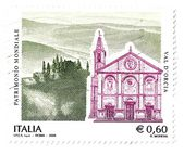 Italian stamp, Val d'Orcia, UNESCO World Heritage Site — Stock Photo