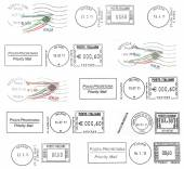 Set of dark italian postmarks — Stock Photo