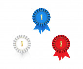 Vector medals with ribbons 1st 2nd 3rd — Stock Vector