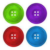 4 brilliant iridescent colored, plastic sewing buttons vector of classic green, red, purple and blu — Stock Vector