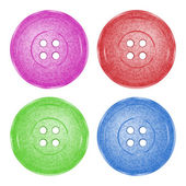 4 colored, plastic sewing buttons of classic vector texture with spotty green, red, purple and blue — Stock Vector