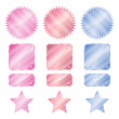 Set red blue and pink glossy vector stickers in the shape of a circle with a square rectangle teeth and stars — Stock Vector #75977149