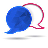 Two vector polygonal speech bubble chat pink and blue, with space for text — Stock Vector