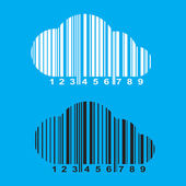 Vector barcode in the form of a cloud of white and black on a blue background — ストックベクタ