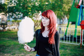 Cotton candy girl Park — Stock Photo