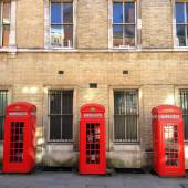 Three Red Telephone Boxes — Stock Photo