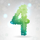 Green numbers, Christmas Four, vector. — Vector de stock