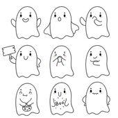 Cute hand drawn ghosts, vector. — 图库矢量图片