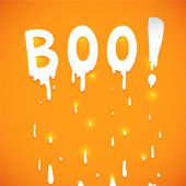 Happy Halloween orange background with text Boo, vector. — Stock Vector