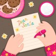 Christmas letter to Santa Claus from girls, vector. — Stock Vector #58406041