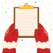 Christmas illustration with hands holding a clipboard, vector. — Stock Vector #58406713
