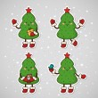 Stickers with Christmas tree, set, vector. — Stock Vector #58407713