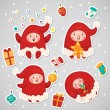 Stickers with Christmas Elves, set, vector. — Stock Vector #58408345