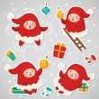 Stickers with Christmas Elves, set, vector. — Stock Vector #58408347