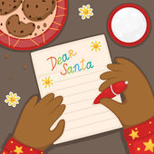 Christmas letter to Santa Claus from an African American child in red pajamas, vector. — 图库矢量图片